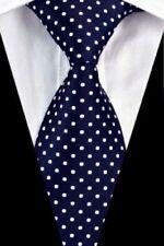 Mens Polka Dots Silk Dot Tie Navy Blue White 20