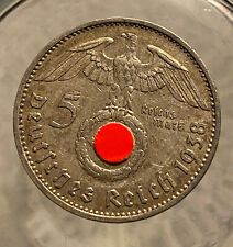 HINDENBURG WW II  GERMAN SILVER COIN 1938 A 5 Reichsmark 900 silver