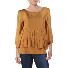 Lola Womens Tan Silk Blen Ruffled Top Blouse Shirt S BHFO 9412