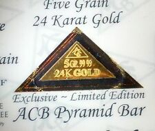 RARE ACB > PYRAMID 5GRAIN 24K SOLID GOLD BULLION MINTED BAR 99.99 FINE COA ++++-