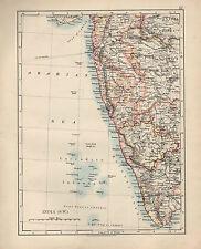 1909 MAP ~ INDIA ~ SOUTH WEST ~ BOMBAY MYSORE