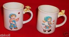 1981 Holly Hobbie & Robbie Cups Vintage with Dog and Cat on Handles
