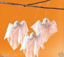 6 pc Set HALLOWEEN Decor Prop Spooky Sheer Fabric HANGING GHOSTS ~ NEW