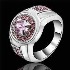 Trendy Pink Sapphire Topaz Women Luxury White Rhodium Plated Cut Ring Size 8