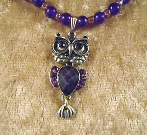 """16"""" Choker Amethyst Beads Silver Plated Owl Beads and Pendant"""