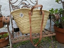 'French' Market Basket Made in Morocco Medium / Small 2 sets leather handles V2