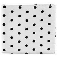 New men's polyester polka dot white black hankie pocket square formal wedding