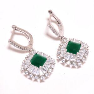 """Sakota Mines Emerald & White Topaz 925 Sterling Silver Earring 1.46"""" S1947"""