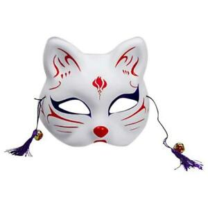 Japanese Animal Cat Half Face Mask Hand-Painted Cosplay Anime Masquerade Costume