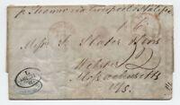 1845 Hamburg Germany to Webster MA transatlantic stampless [H.516]