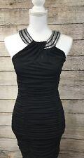 Iz Byer Dress Black Club wear Sequin Sz L Fitted Ruche Above Knee Halter BinB