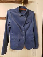 Talbots Women's Periwinkle Blue Velvet Blazer  Size 6 Peplum Ruffle Back NWT