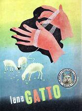 PUBBLICITA' 1949 LANA GATTO FILATURA DI TOLLEGNO TESSILE FILO GOMITOLO PECORE
