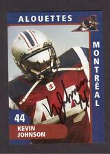 MONTREAL ALOUETTES # 44 KEVIN JOHNSON ORIGINAL AUTOGRAPHED FOOTBALL CARD !!