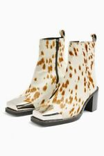 New Topshop Marshal Western Cowboy Calf Print Metal Toe Cap Boots UK 6 EU 39