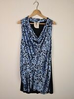 Queen of Everything Blue & Black Satin Cowl Neck Ruched Dress Women's Size 2 ~12