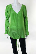 Chloe Green Silk V Neck Long Sleeve Blouse Size 38