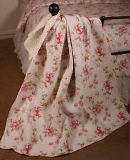 Quilt Throw French Rose Cottage Shabby Chic Cotton Lap Blanket