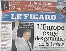LE FIGARO N°20383 12 FEVRIER 2010 A.McQUEEN/ VANCOUVER 2010/ GRECE/ BESANCENOT