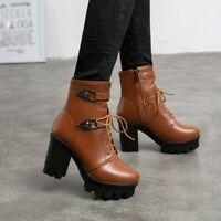 Womens Fashion Punk Round Toe Lace Up Buckle Strap Ankle Boots Chunky High Heels