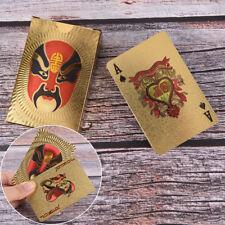 1 jeu imperméable à l'eau plaqué or porc PVC cartes à jouer en plastique pour le