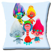 Trolls Dolls Cushion Cover Animated Film Characters  Blue Check 16 inch (40cm)