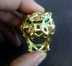 Panther Cat 18k Solid Yellow Gold Emerald Gemstones Unisex Ring 0.65 oz Sz 8