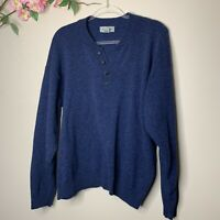 L.L. Bean Lambswool Blue 1/4 Button Up Sweater Made In Scotland Mens Size XL