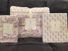 NEW Pottery Barn Kids Keira Paisley Twin Quilt, Sham, Sheet Set, Lavender, Swan