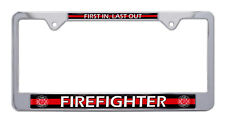 """Firefighter """"Thin Red Line"""" Chrome License Plate Frame"""