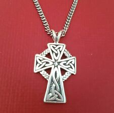 6794aea7081 Stainless Steel Celtic Cross Necklace solid 925 Sterling silver pendant  Circle