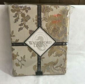"""WATERFORD MARCELLE Tablecloth  90"""" Round  Seats 6 to 8 Ivory Gold Taupe Floral"""