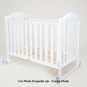 Vifoz- Multifunctional, convertible white wooden Baby Crib/Cot wheels + Mattress