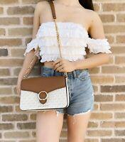 Michael Kors Wanda Medium Shoulder Bag Flap Crossbody Vanilla MK Luggage Brown
