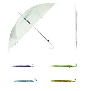 "Clear Colorful 42"" Doorman hook Handle Umbrella Rain Skeleton Sun Shade"