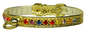 Rhinestone Dog Collar Gold w/ mixed Color Genuine Crystals Hand Jeweled USA
