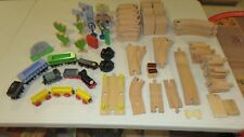 Mixed Lot for Wood Wooden Train Set Includes Track Trains More - 100 Pieces