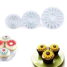 3 Pcs/set Sugar Craft Sunflower Mould Plunger Daisy Cake Mold Cookie Cutter