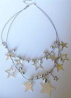 """collier rétro frais d""""été câble 2 rangs perle étoile pampille couleur argent 492"""