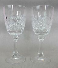 Superb vintage cut crystal glass set of 2 x footed WINE GLASSES. 170 ml