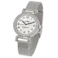 NWT Coach Women's Watch Silver SS MESH Bracelet 32mm GLITZ MADISON 14502651 $295
