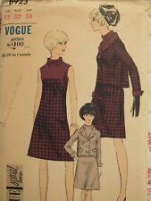 Swanky VTG 60s VOGUE 6923 Misses A-line Dress & Shaped Jacket PATTERN 12/32B