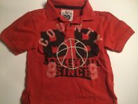 Boys CHILDREN'S PLACE Short Sleeve Polo Basketball Theme T-Shirt Size S 5/6