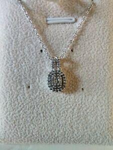 "Diamond 925 Sterling Silver ""Classic Cluster"" Pendant & Chain. 1.00 Caret."