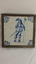 Dutch Delft Framed Antique Tile 18th century depicting soldier