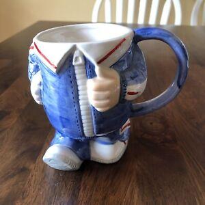 """Whimsical Enesco """"Run For Your Life"""" Coffee Mug 1978 Jogger Runner Blue White"""