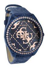 New Guess Watch Super Logo Blue Rose Trim Embossed Leather Strap U0473L1 W0473L1