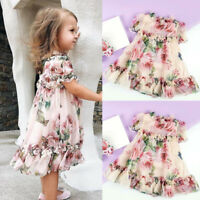 Fashion Toddler Kids Baby Girls Princess Flowers Party Tutu Tulle Dress Clothes