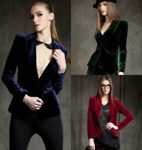 Ladies Velvet Blazer Slim Short Jacket Office Working Coats Dress Formal Party