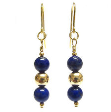 9ct Gold Ball Earrings with Genuine Semi-precious Lapis Lazuli Gemstone Beads